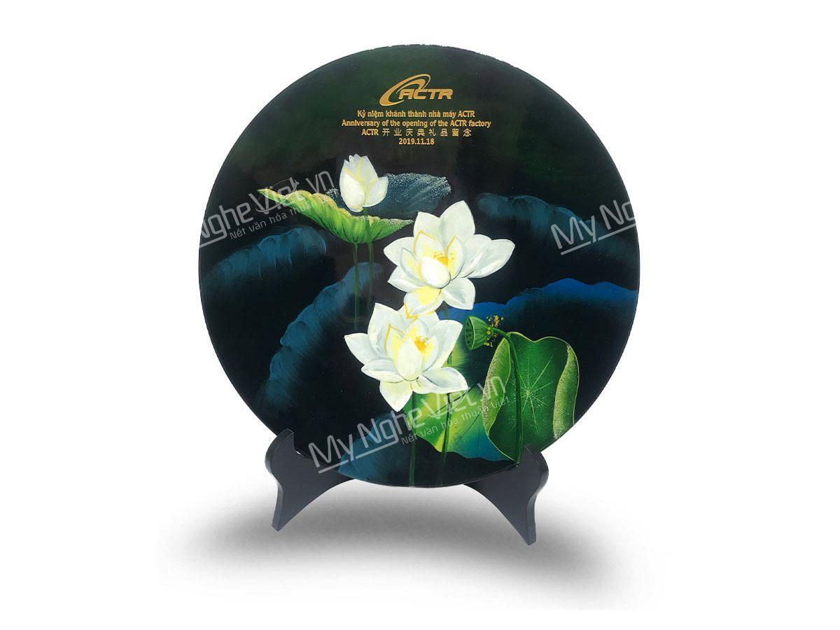Tranh đĩa sơn mài nghệ thuật chủ đề hoa sen