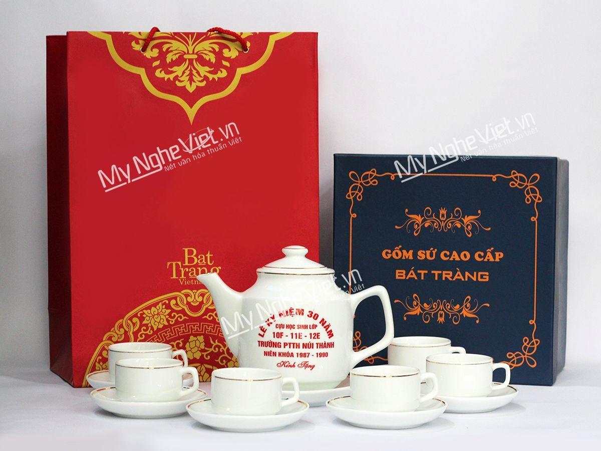 Bình trà viền chỉ vàng kim