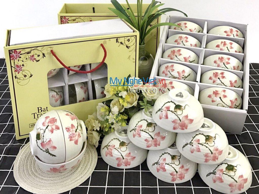 Bộ chén dĩa nhà hàng gốm Bát Tràng vẽ hoa sen