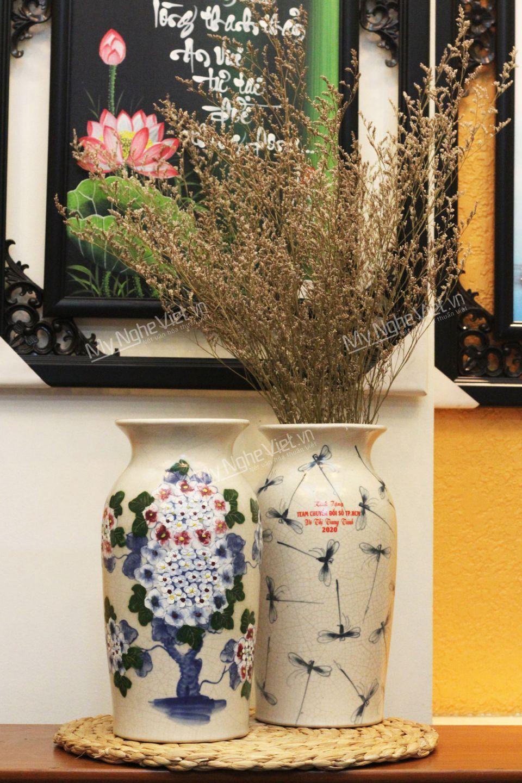 Lọ hoa gốm Bát Tràng men rạn