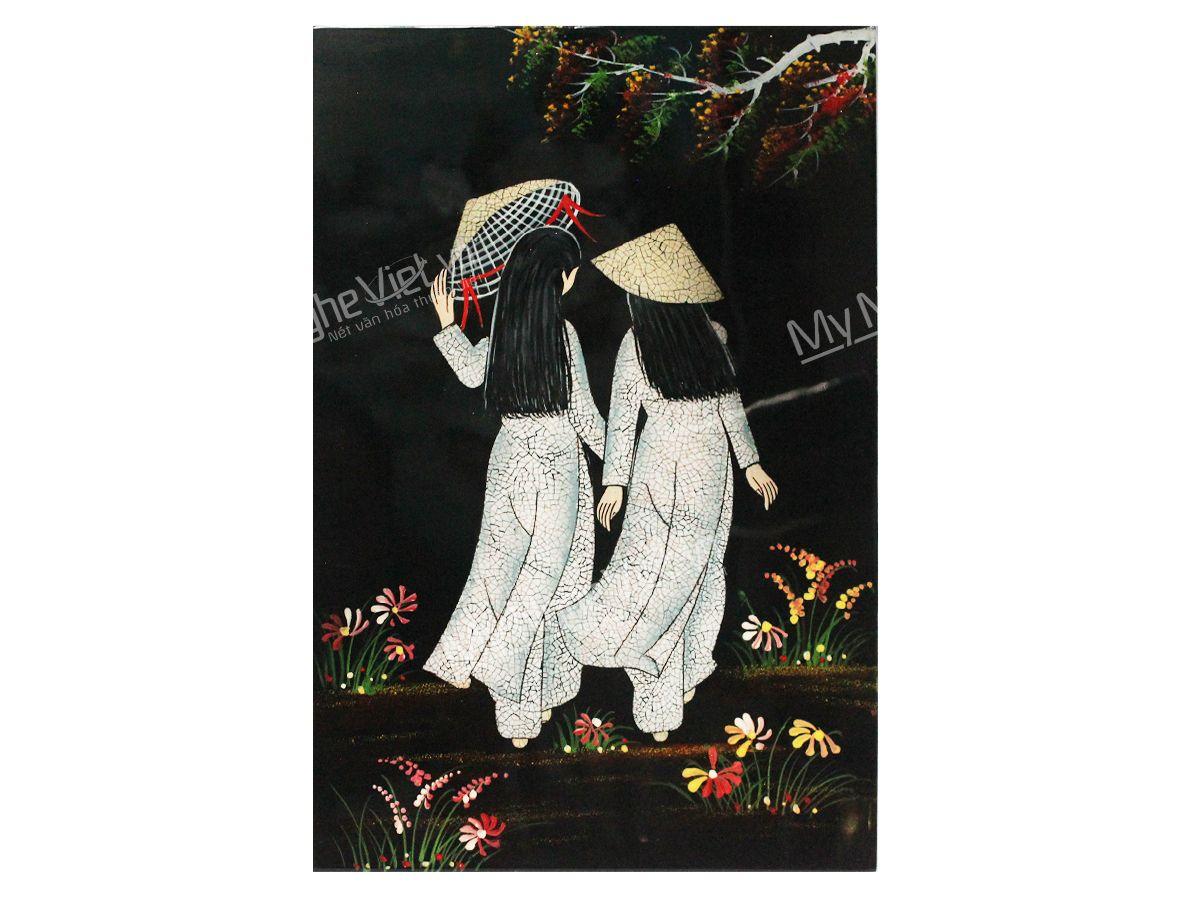 Quà tặng 8/3 tranh sơn mài cô gái Việt Nam
