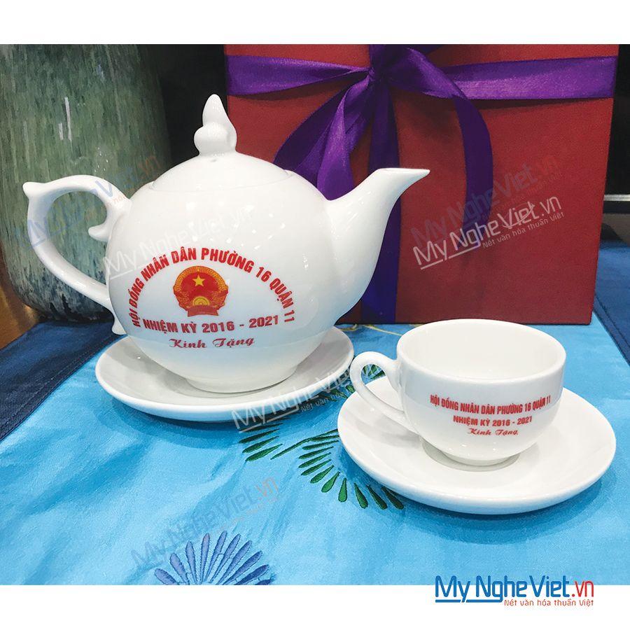 Bộ bình trà in logo UBND Quận 11