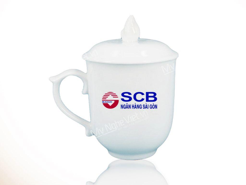 Ly sứ in logo SCB tri ân khách hàng