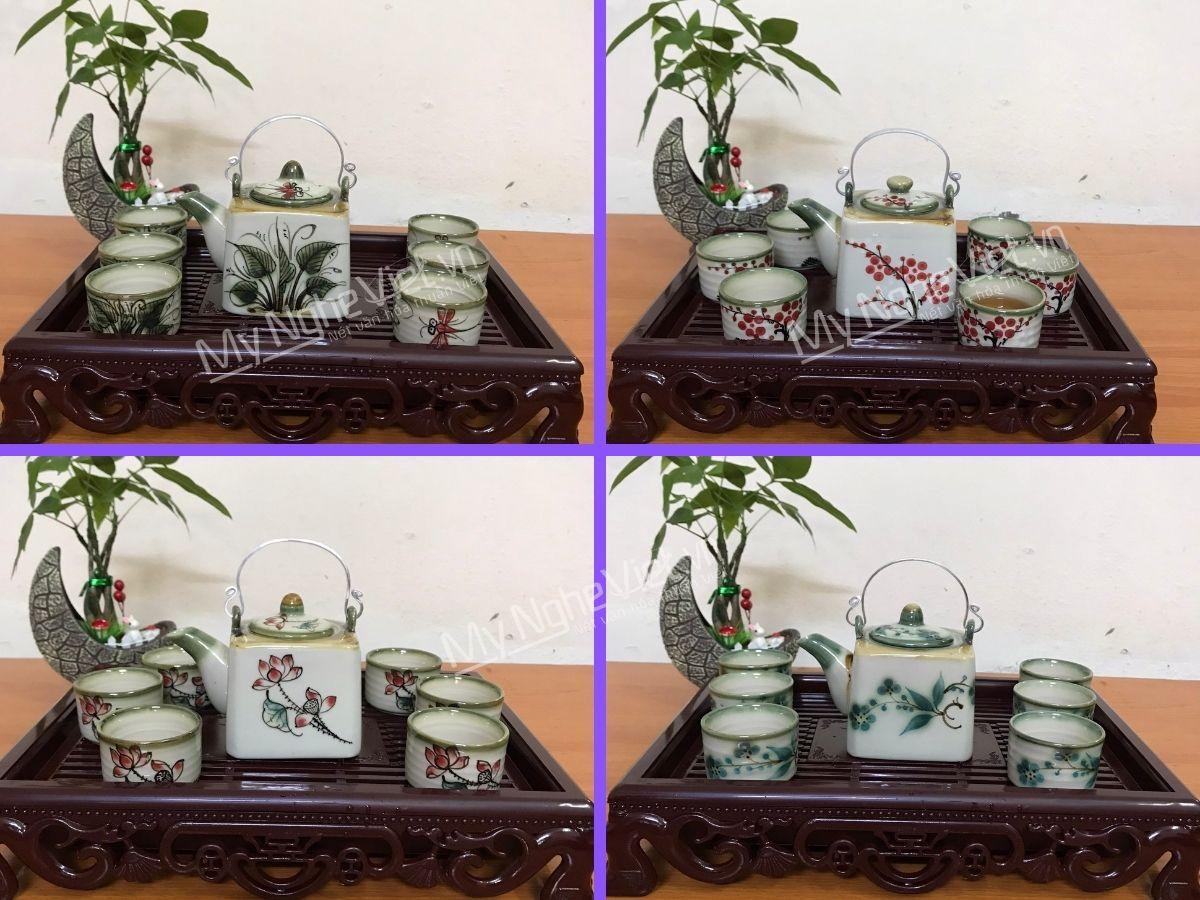 Bộ bình trà Bát Tràng đẹp men bóng vẽ hoa dáng vuông