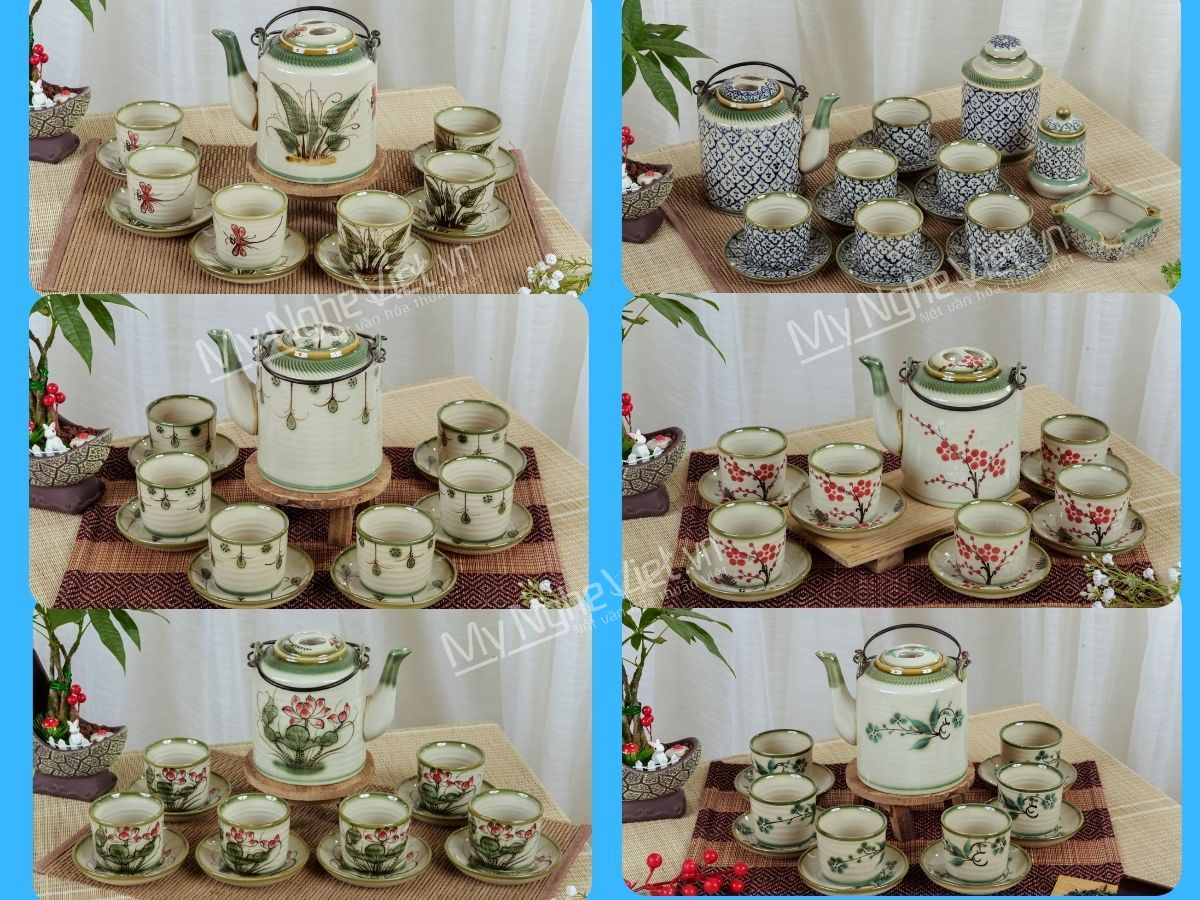 Bộ bình trà men bóng vẽ hoa dáng Ấm tích