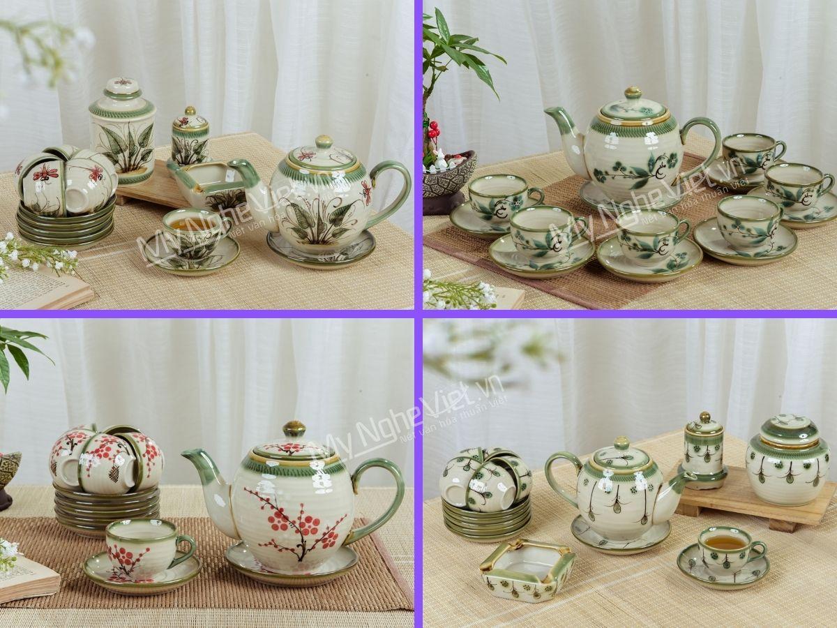 Bộ bình trà men bóng vẽ hoa dáng Minh Long