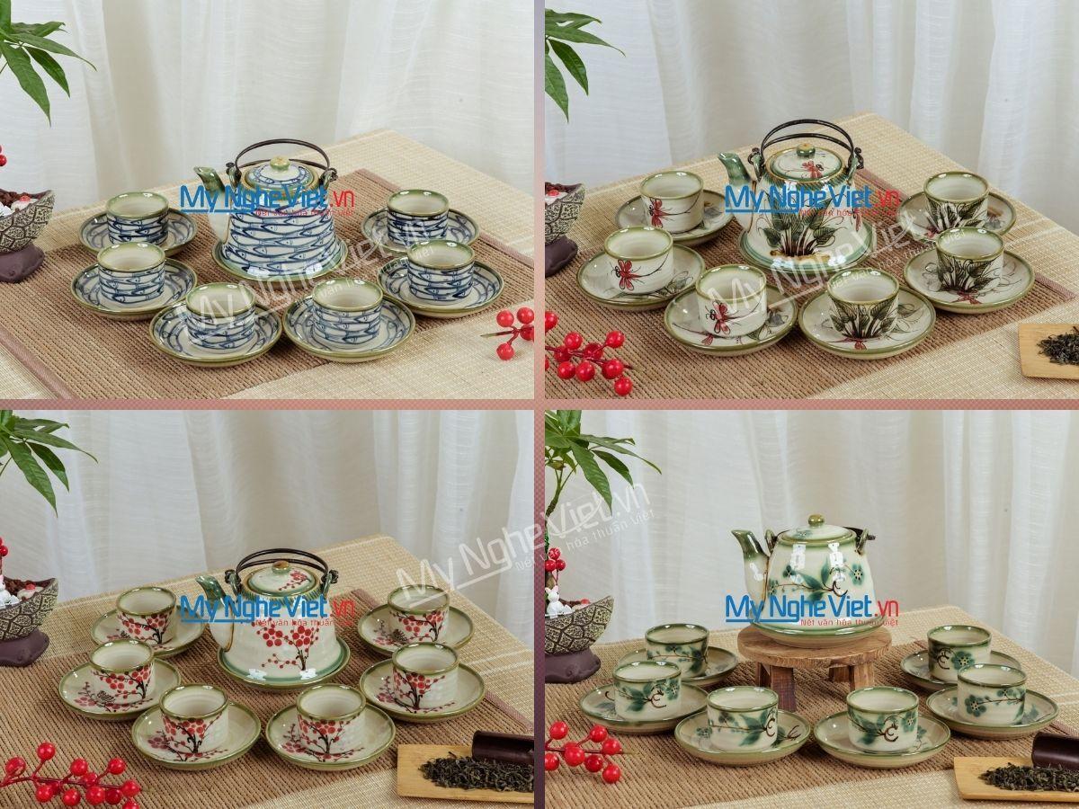 Bộ bình trà men bóng vẽ hoa dáng chuông