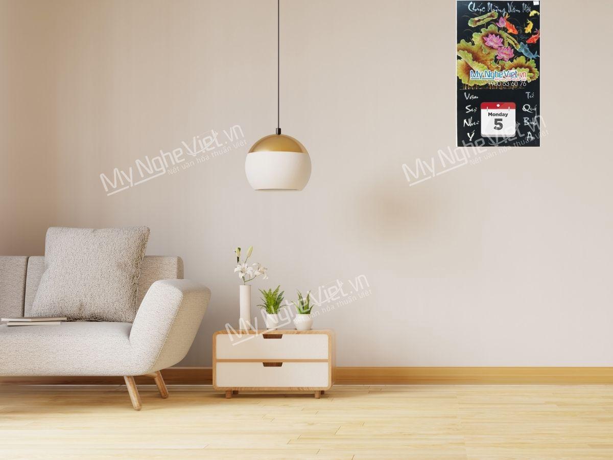 tranh lịch sơn mài treo tường in logo